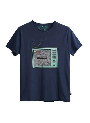 Bad Bear Bad Bear Erkek Mavi Bisiklet Yaka T-Shirt Mavi
